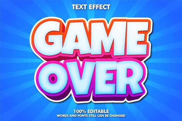게임 오버 배너, 편집 가능한 만화 글꼴 무료 벡터
