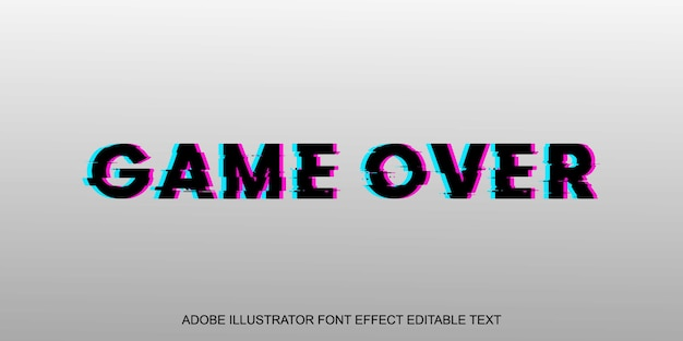 Game over glitch шрифт с редактируемым текстовым эффектом Premium векторы