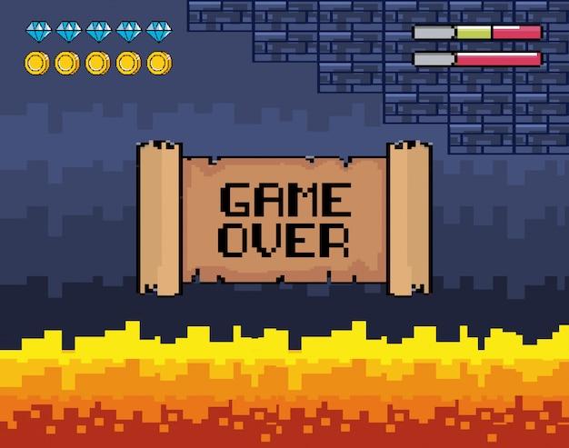 Игра окончена с огненной сценой и барами жизни Бесплатные векторы