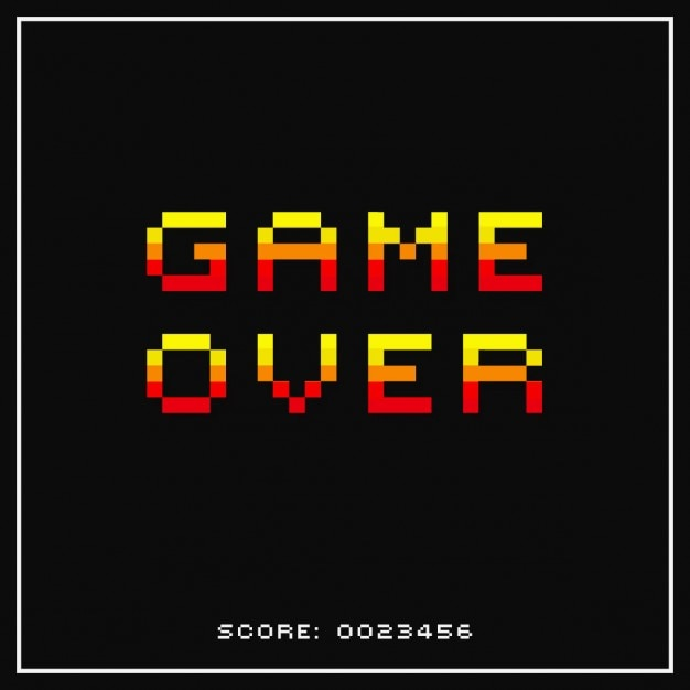 Game over pixelated background Free Vector