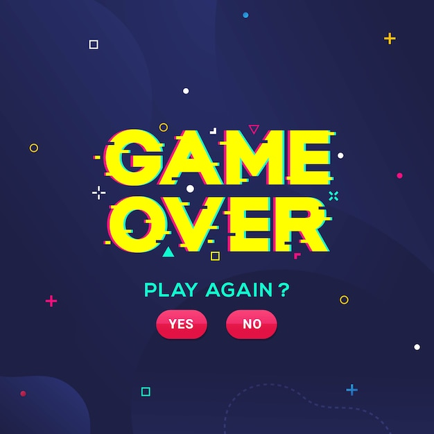 Game over word с эффектом сбоя для игр векторная иллюстрация Premium векторы