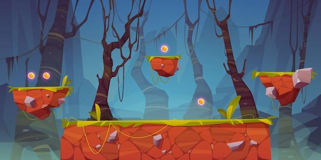 Игровая платформа мультяшный лесной пейзаж, 2d дизайн Бесплатные векторы
