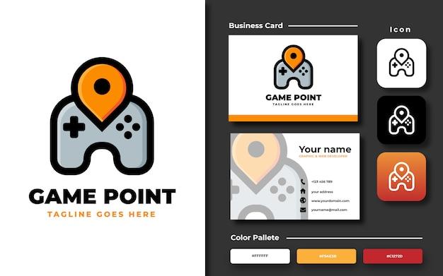 名刺とゲームポイントのロゴのテンプレート Premiumベクター