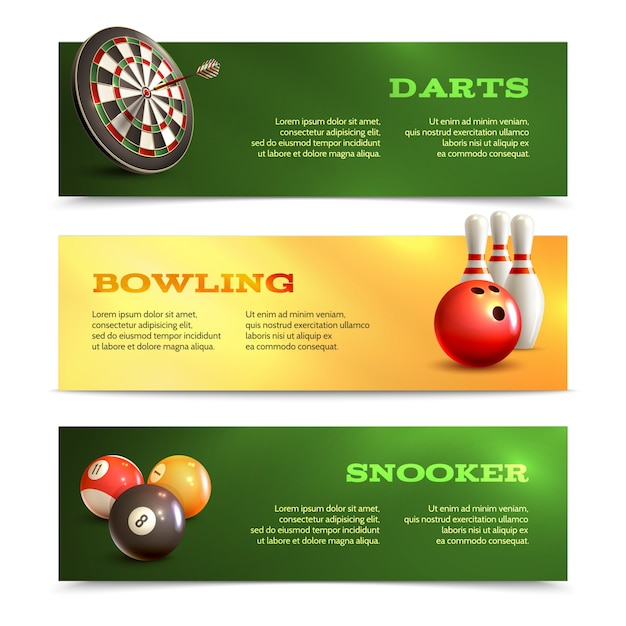 Game realistic horizontal banner set with bowling snooker darts isolated vector illustration Free Vector