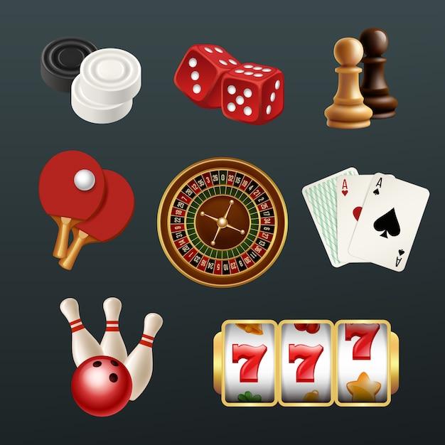 Premium Vector | Game realistic icons, poker dice bowling gambling domino  web casino symbols setisolated