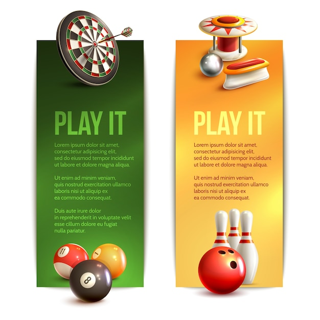 Game realistic vertical banner set with bowling pinball billiard darts isolated vector illustration Free Vector