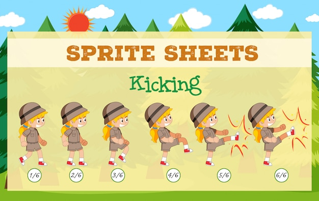 Game sprite sheets kicking Free Vector