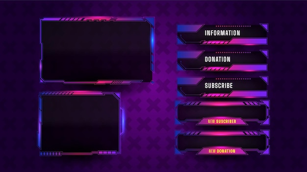 Game streaming panel layout game Free Vector