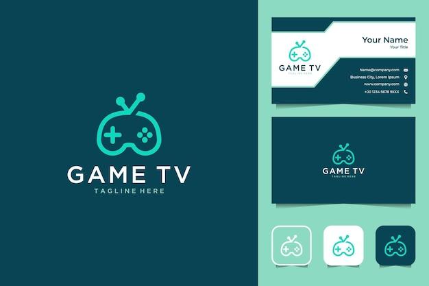 콘솔 로고 디자인과 명함이있는 게임 Tv 프리미엄 벡터