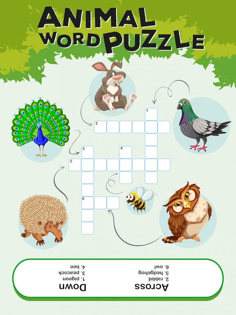 Game template for animal word puzzle Free Vector