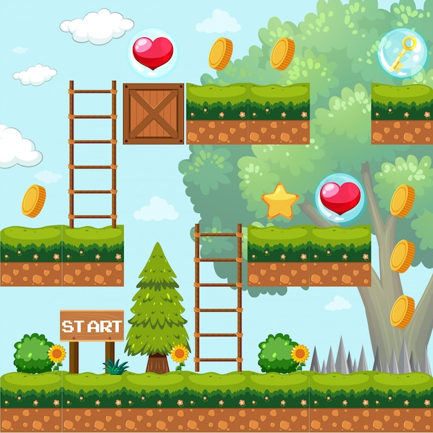 Game Template in Forest Scene Free Vector