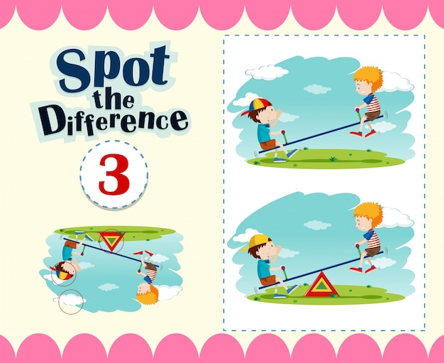 Game template of spot the difference Free Vector