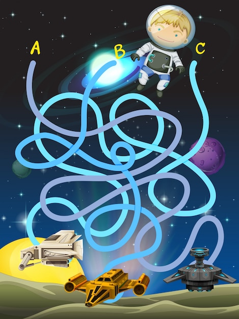 Game template with astronaut in space Vector | Free Download