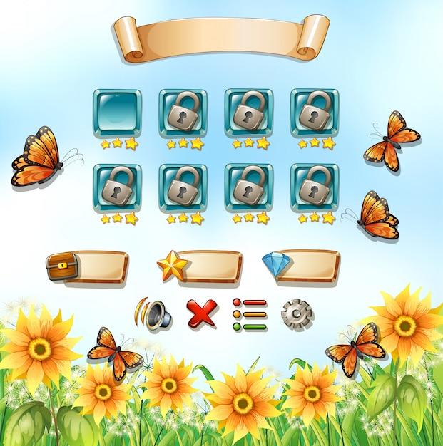 Game template with butterflies in the garden Free Vector