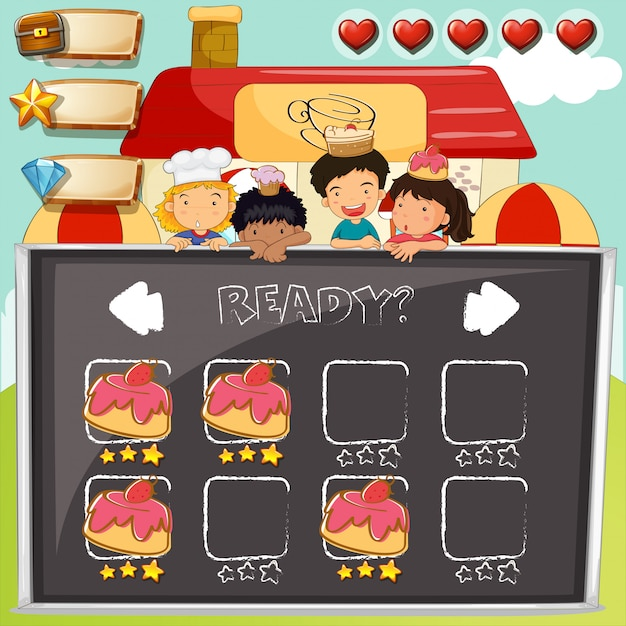 Game template with children and cake Free Vector