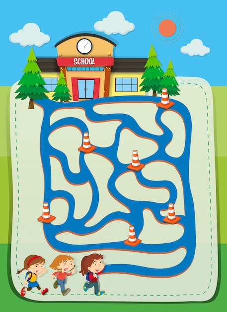 Game template with children going to school Free Vector