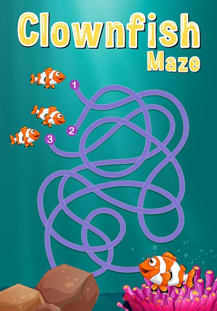 game template with clownfish and coral reef vector free download