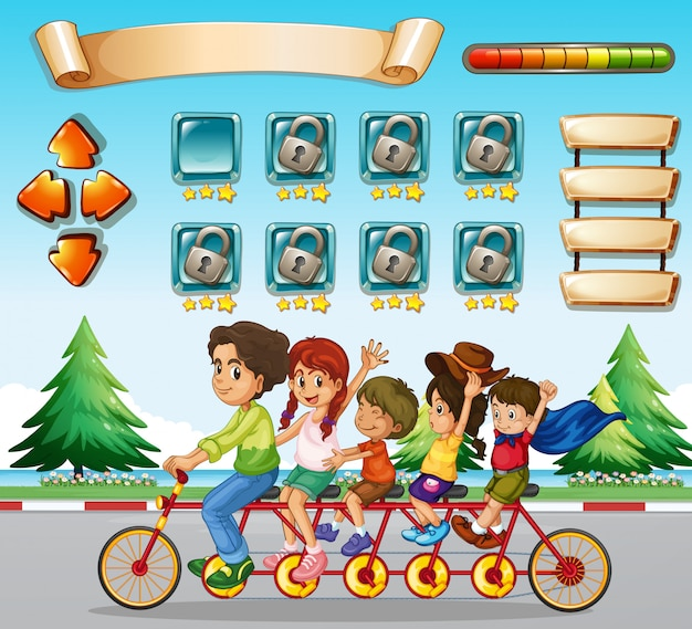 Game template with family riding bicycle Free Vector