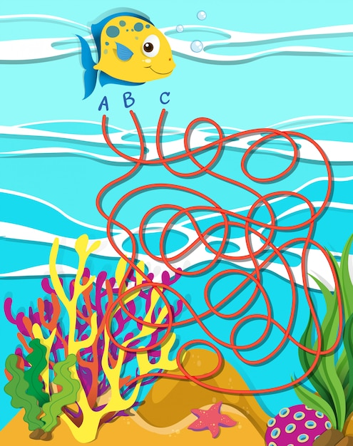 Game template with fish and coral reef Free Vector