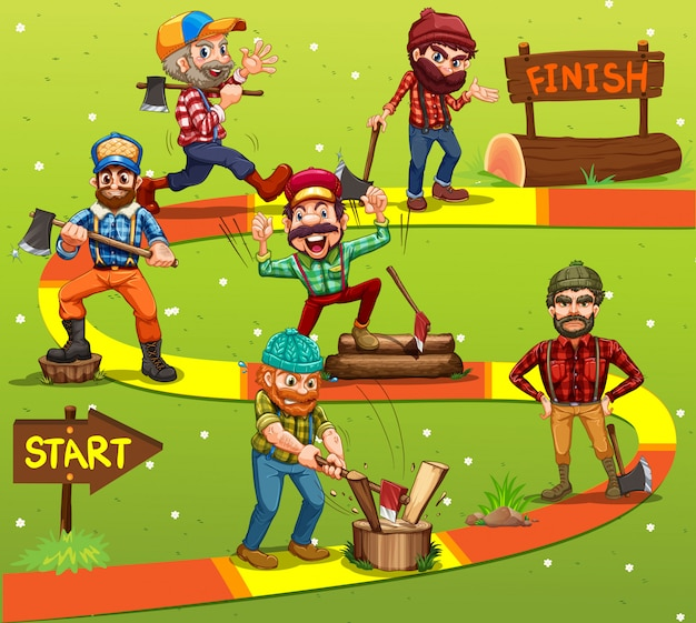 Game template with lumber jack characters Free Vector
