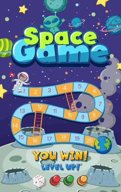 宇宙に多くの惑星があるゲームテンプレート Premiumベクター