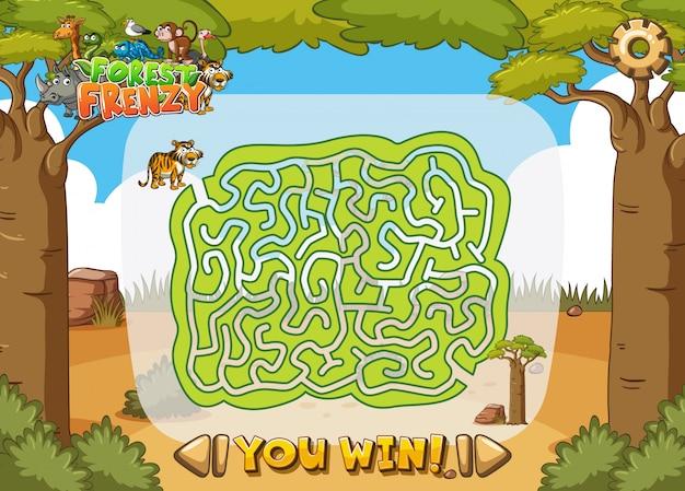 Шаблон игры с лабиринтом в джунглях Premium векторы