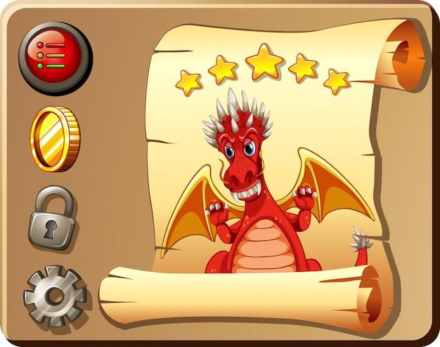 赤いドラゴンの背景を持つゲームテンプレート 無料ベクター