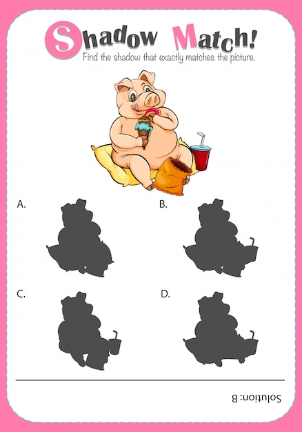 Game template with shadow matching pig Free Vector