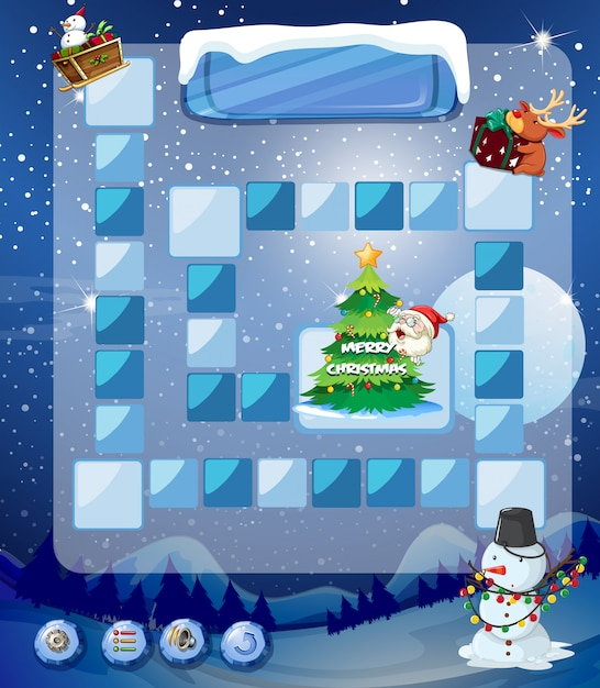 Game template with snowman and tree Free Vector