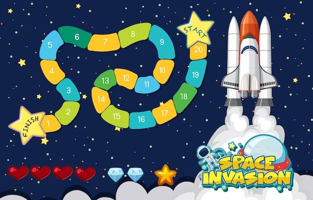 宇宙船が宇宙を飛んでいるとゲームのテンプレート Premiumベクター