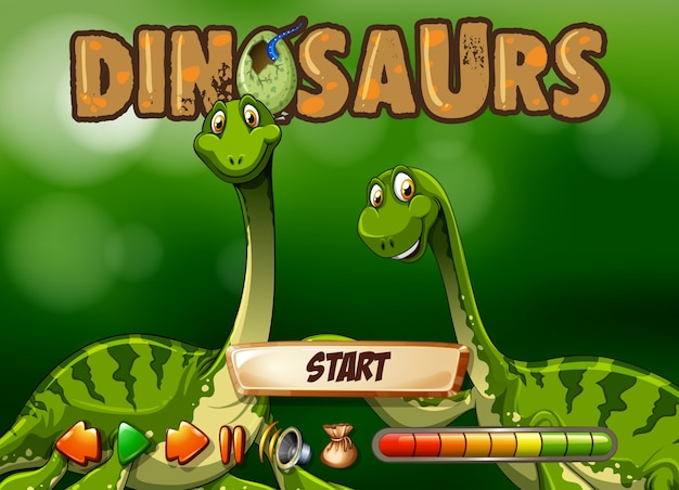 Game template with two dinosaurs Free Vector
