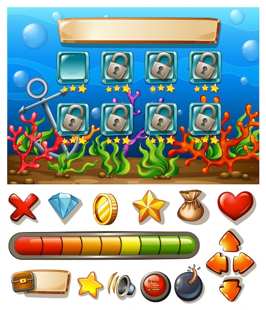 Game template with underwater background Free Vector