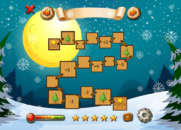 Game template with winter theme Free Vector