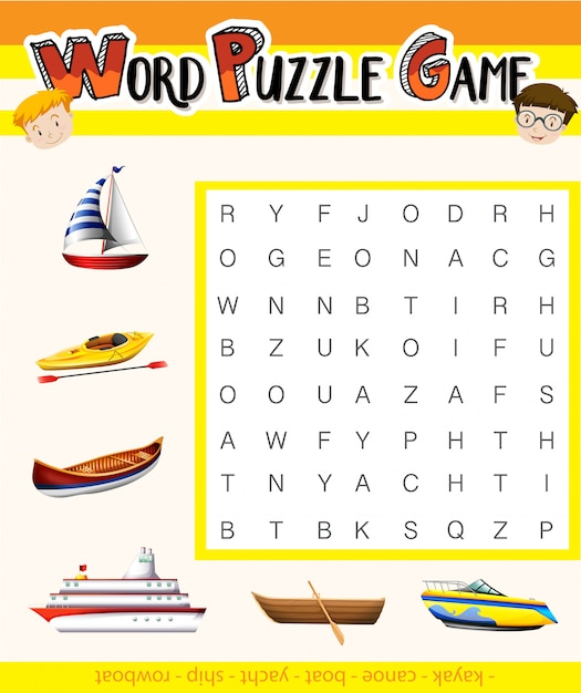 Game template with words about transportation Free Vector