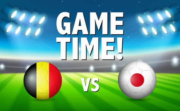 Game time belgium vs japan Free Vector
