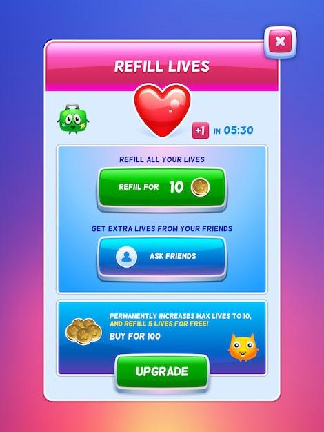 Игровой интерфейс. пополнение энергии экрана жизни. Premium векторы