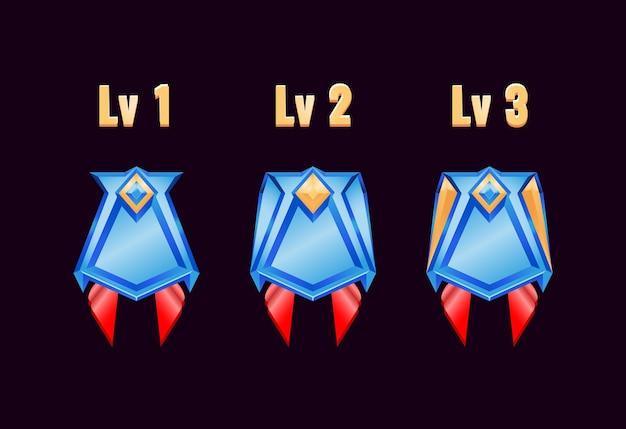 등급이있는 게임 Ui 광택 황금 다이아몬드 등급 배지 메달 프리미엄 벡터