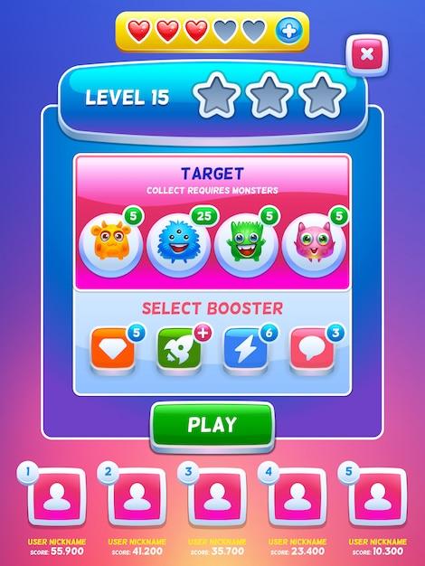 Game ui. level screen. Premium Vector