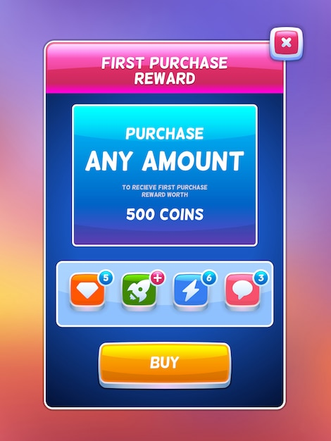 Game ui. reward purchase screen. Premium Vector