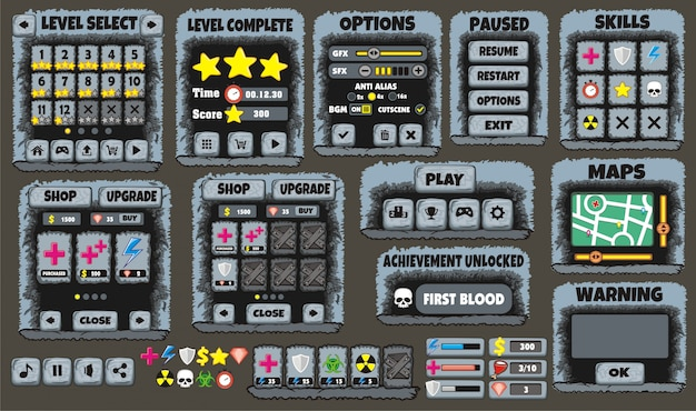 Game User Interface And Themes For Creating Premium Vector