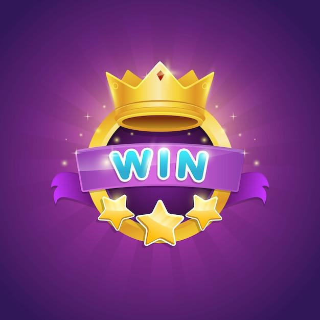 빛나는 왕관과 스타 상을 수상한 게임 우승자 배지 디자인 프리미엄 벡터