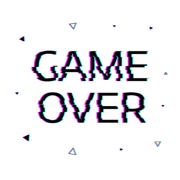 Game over with glitch effect. Premium Vector