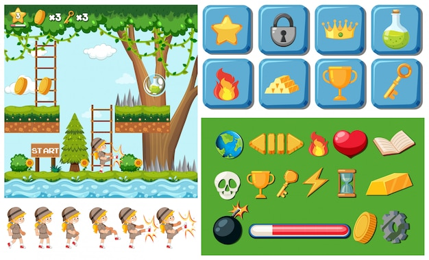 Game with object template Free Vector
