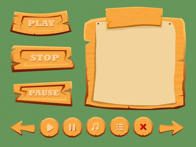 Game wooden interface elements set Free Vector