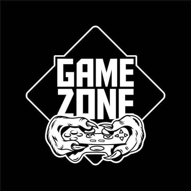 Game zone gamer hands of green monster dinosaur which keep gamepad joystick controller and play video game. custom icon logo print design illustration for geek culture people t-shirt design apparel Premium Vector