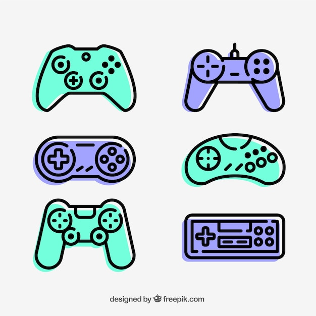 gamepad icons collection vector premium download