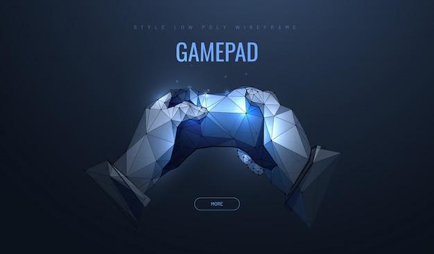 Геймпад в полигональном стиле. концепция компьютерных игр. Premium векторы