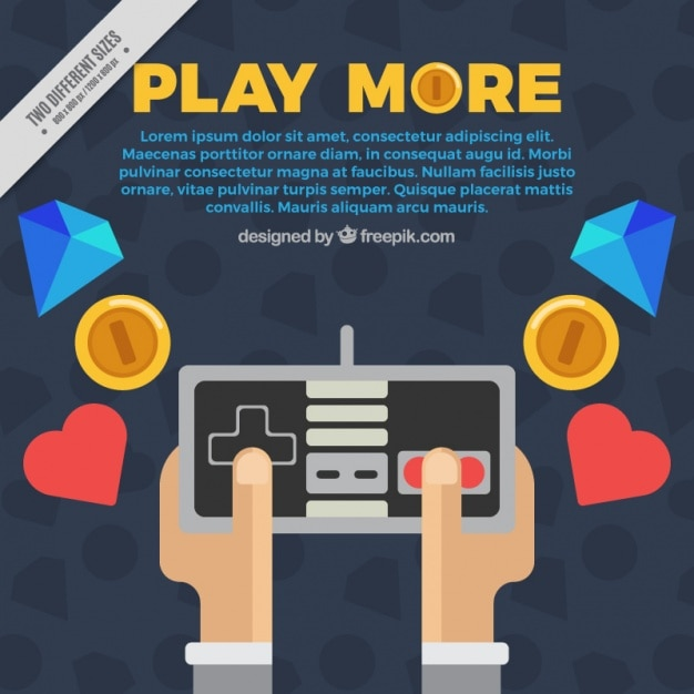 Gamer background in flat design with elements Free Vector