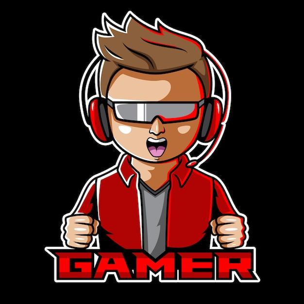 Gamer esport талисман дизайн логотипа Premium векторы