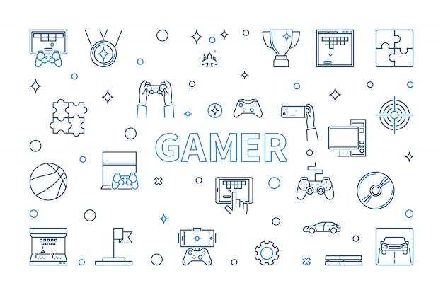 Набор иконок геймеров в стиле тонких линий Premium векторы